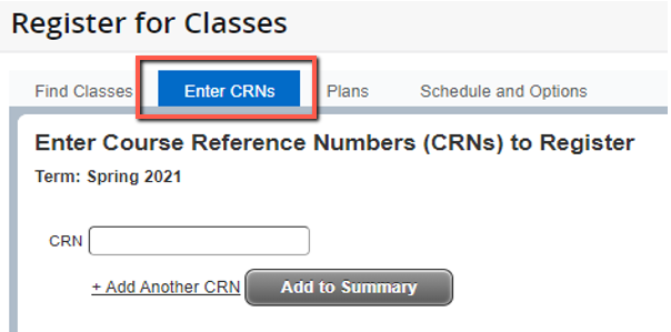 Register for Classes screen with Enter CRN highlighted