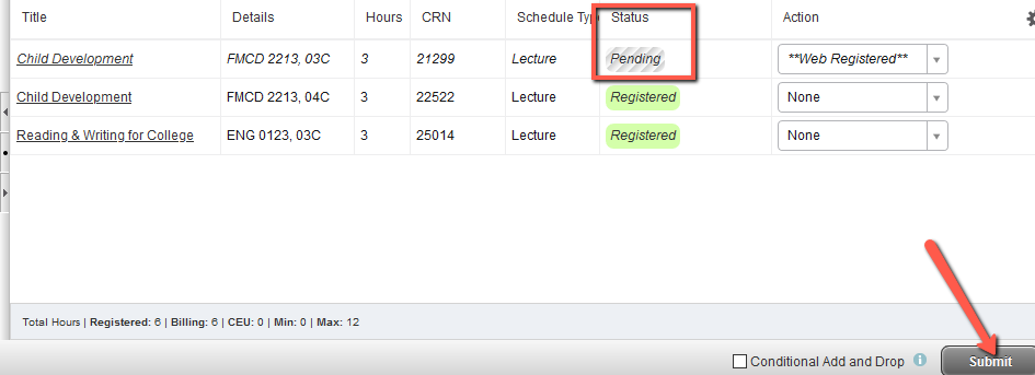 list of classes with one displaying Status as Pending others display Registered