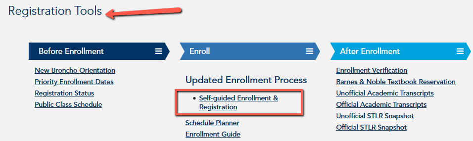 UCONNECT Academics screen with Registration Tools highlighted and Self Guided Enrollment link displayed
