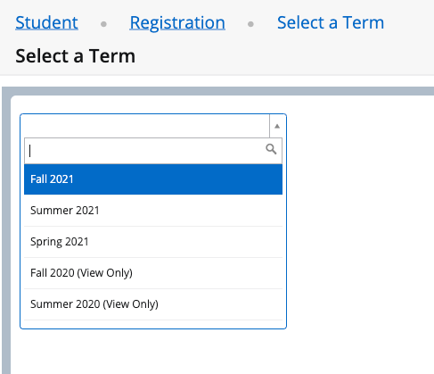 select a term fall 2021 update