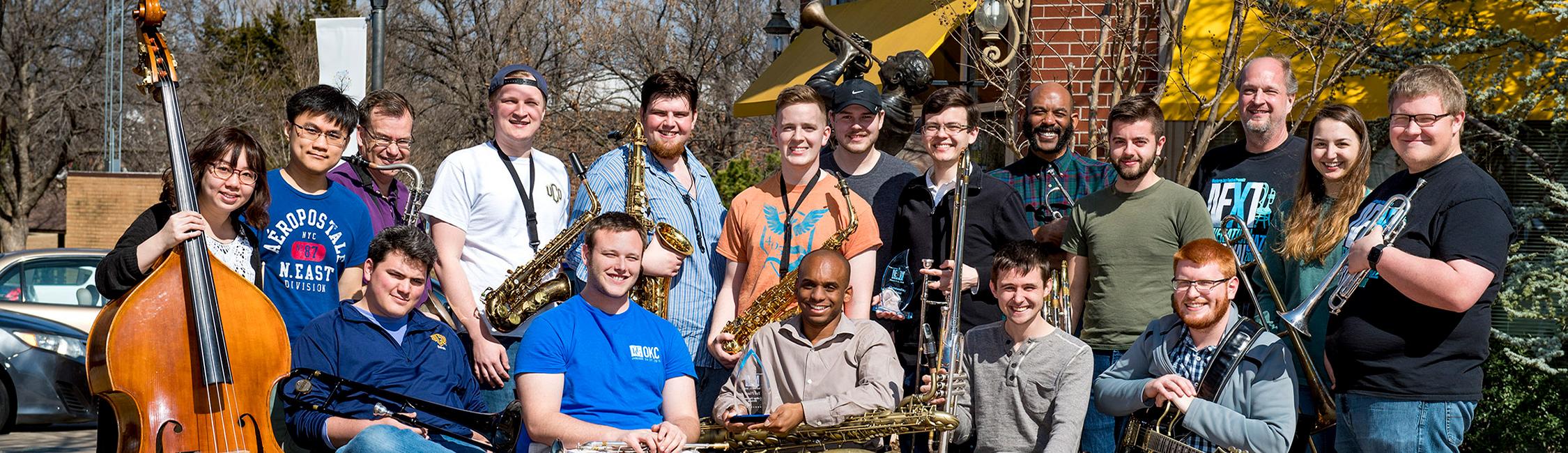Jazz Ensemble students outside of the UCO Jazz Lab