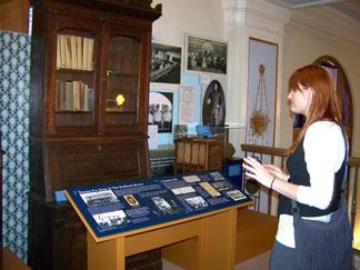 Student preparing exhibit