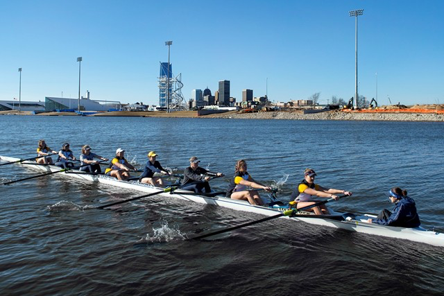 UCO rowing team on the river