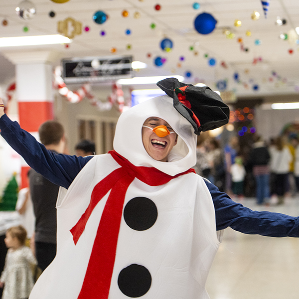 photo of student dressed in snowman costume
