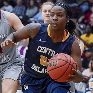 photo of female UCO basketball player dribbling