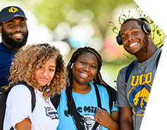 students smiling outside on the UCO campsu