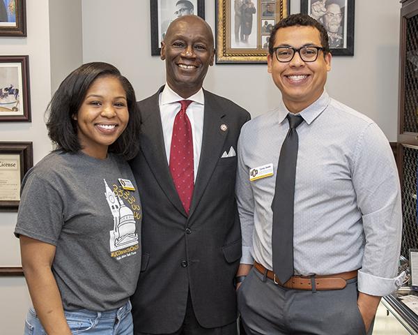 photo of two uco students standing with Oklahoma legislator