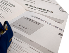 photo of Oklahoma voter registration papers