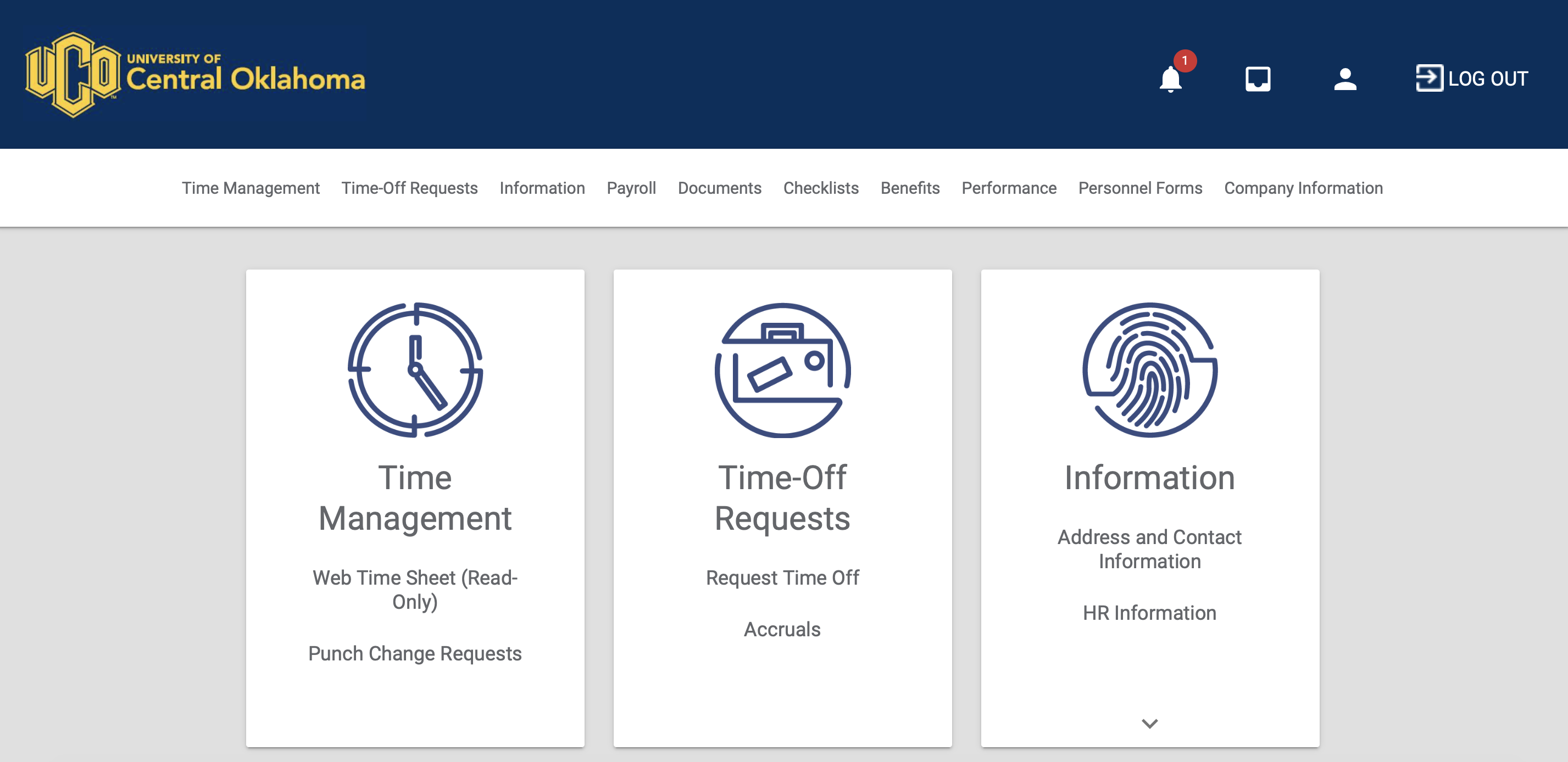 Personal Information section of UCONNECT