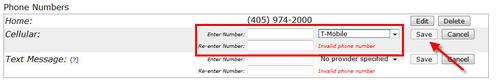 Enter cellular phone number and provider