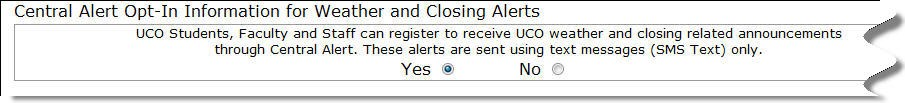 Select Yes for Weather Opt-In