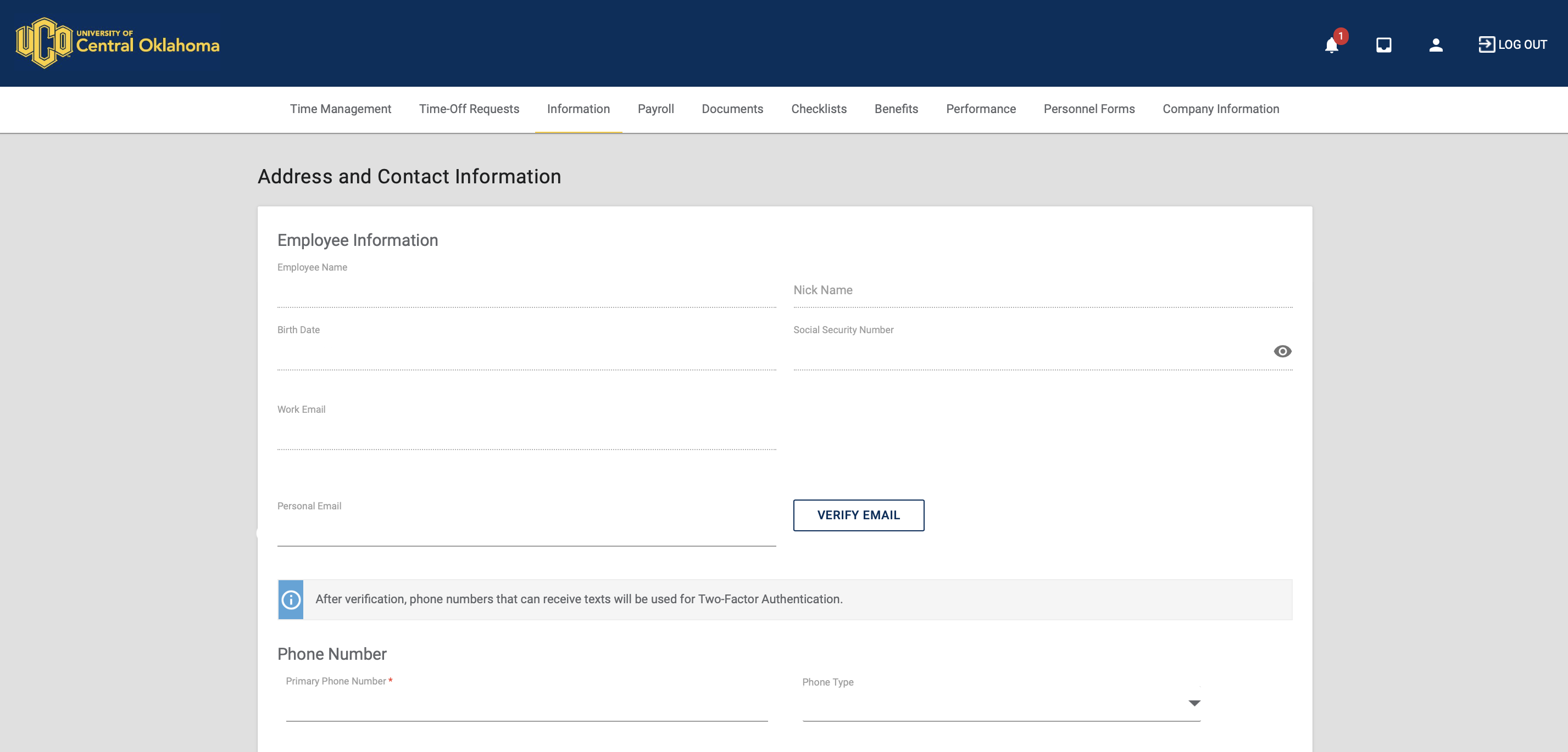 Enter your contact information into the fields provided