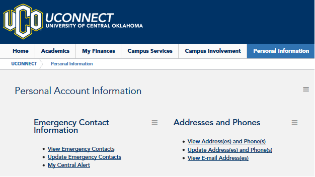UCONNECT Personal Information Page