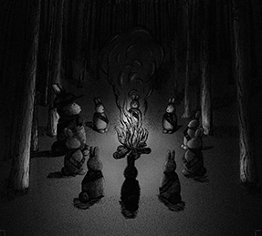 black and white illustration of 10 forest animals sitting around a campfire