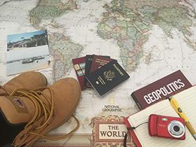 maps, passports, pens
