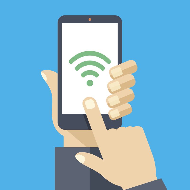 hand holding mobile device with wifi symbol displayed on screen
